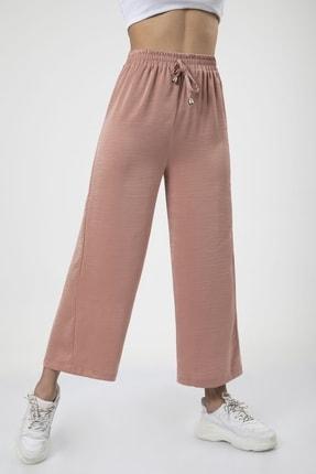 MD trend Kadın Pudra Bel Lastikli Bağcıklı Bol Paça Salaş Pantolon 2