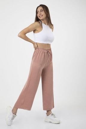 MD trend Kadın Pudra Bel Lastikli Bağcıklı Bol Paça Salaş Pantolon 4