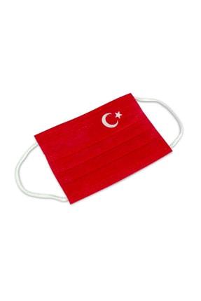 FCMASK 50 Adet Çocuk Maskesi Türk Bayrak Desen Uts Kayıtlı Ultrasonik 10 Lu Paketlerde Telli 0