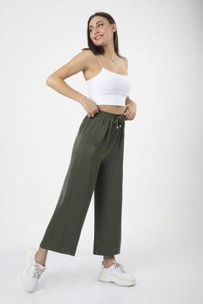 MD trend Kadın Haki Bel Lastikli Bağcıklı Bol Paça Salaş Pantolon 1