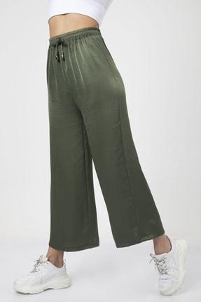 MD trend Kadın Haki Bel Lastikli Bağcıklı Bol Paça Salaş Pantolon 3