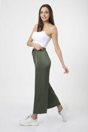 MD trend Kadın Haki Bel Lastikli Bağcıklı Bol Paça Salaş Pantolon 4