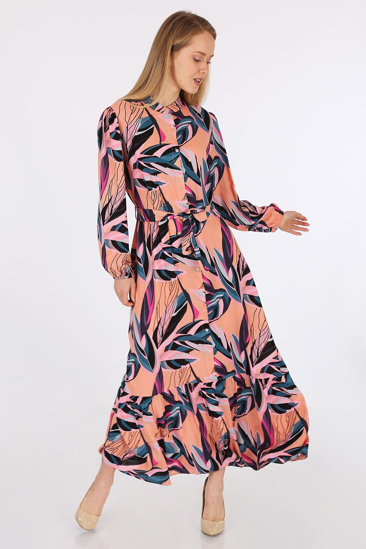 Kadın Pembe Egzotik Desen Elbise 2158