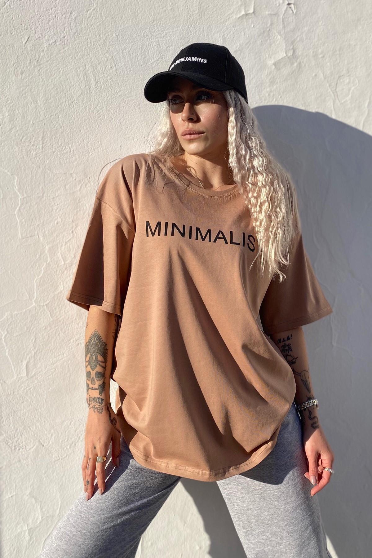 SwistLuxury Kadın Kahverengi Minimalist Baskılı Bisiklet Yaka T shirt 1