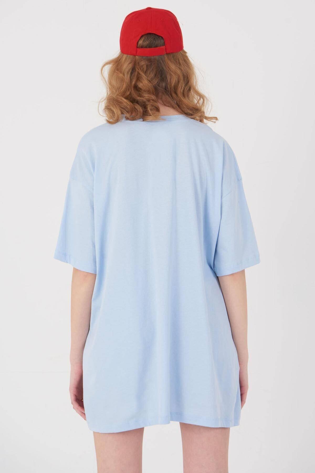 Addax Kadın Buz Mavi Oversize T-Shirt P0731 - G6K7 Adx-0000020596 4