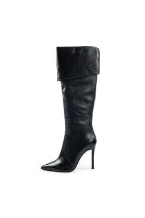 Kadın Siyah Deri Topuklu Çizme resmi