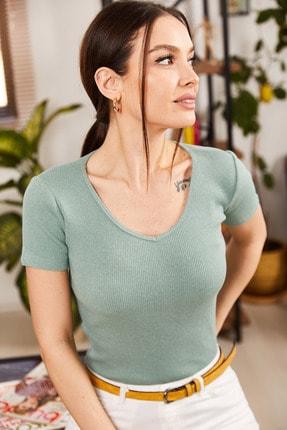 armonika Kadın Mint V Yaka Kısa Kol Bluz ARM-21K108037 0
