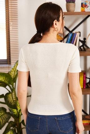 armonika Kadın Beyaz V Yaka Kısa Kol Bluz ARM-21K108037 3