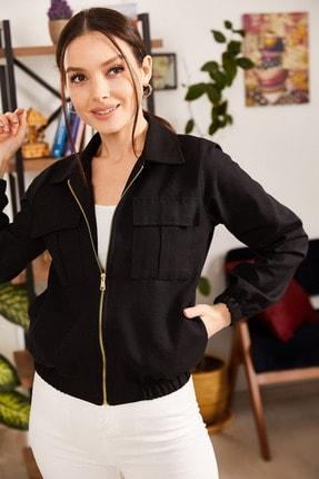 armonika Kadın Siyah Cepli Fermuarlı Mevsimlik Ceket ARM-21K001182 2