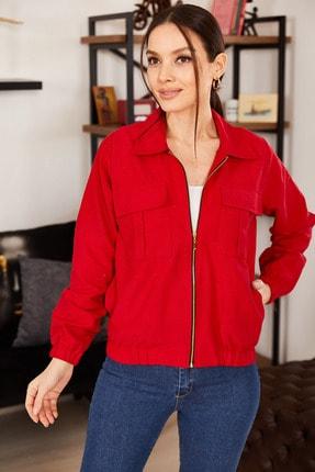 armonika Kadın Kırmızı Cepli Fermuarlı Mevsimlik Ceket ARM-21K001182 2