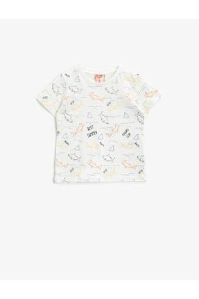 Koton Erkek Bebek Ekru Desenli Kısa Kollu T-Shirt 0