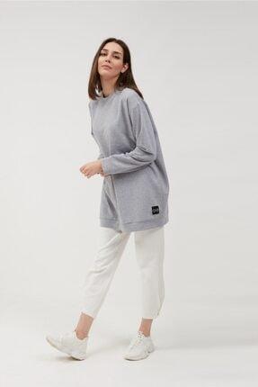 oia Kadın Gri Renk Uzun Basic Sweat Tunik 1