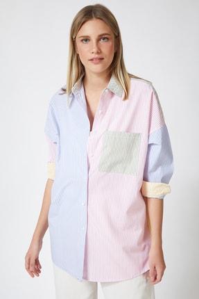 Happiness İst. Kadın Pembe Blok Renkli Çizgili Oversize Pamuklu Gömlek HF00202 1