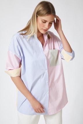 Happiness İst. Kadın Pembe Blok Renkli Çizgili Oversize Pamuklu Gömlek HF00202 2