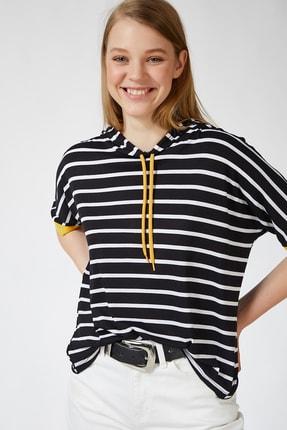 Happiness İst. Kadın Siyah Sarı Kapüşonlu Çizgili Viskon T-shirt ZV00091 1