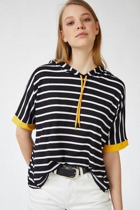 Happiness İst. Kadın Siyah Sarı Kapüşonlu Çizgili Viskon T-shirt ZV00091 2
