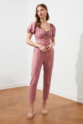 TRENDYOLMİLLA Gül Kurusu Jogger Bel Detaylı Pantolon TWOSS21PL0359 2