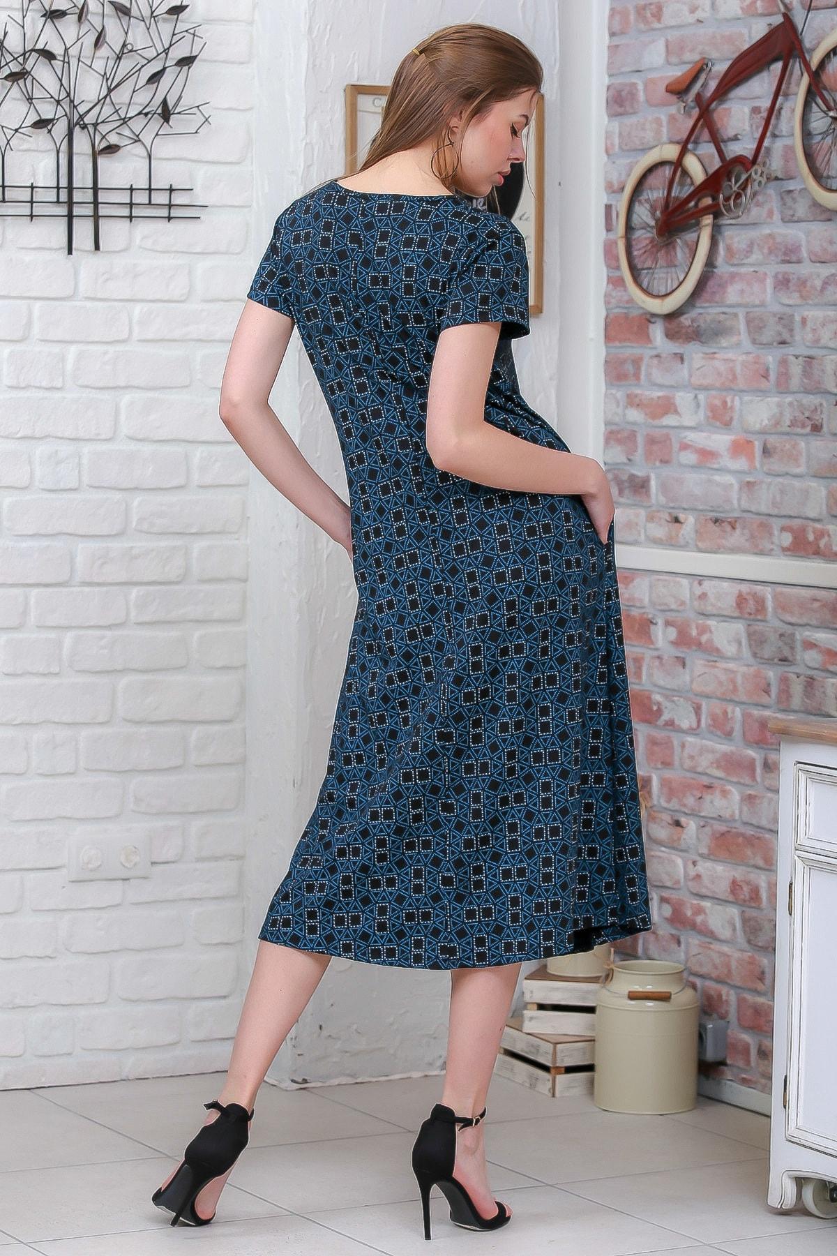 Chiccy Kadın Yeşil Sıfır Yaka Geometrik Desenli Gizli Cepli Salaş Elbise M10160000EL95550 3