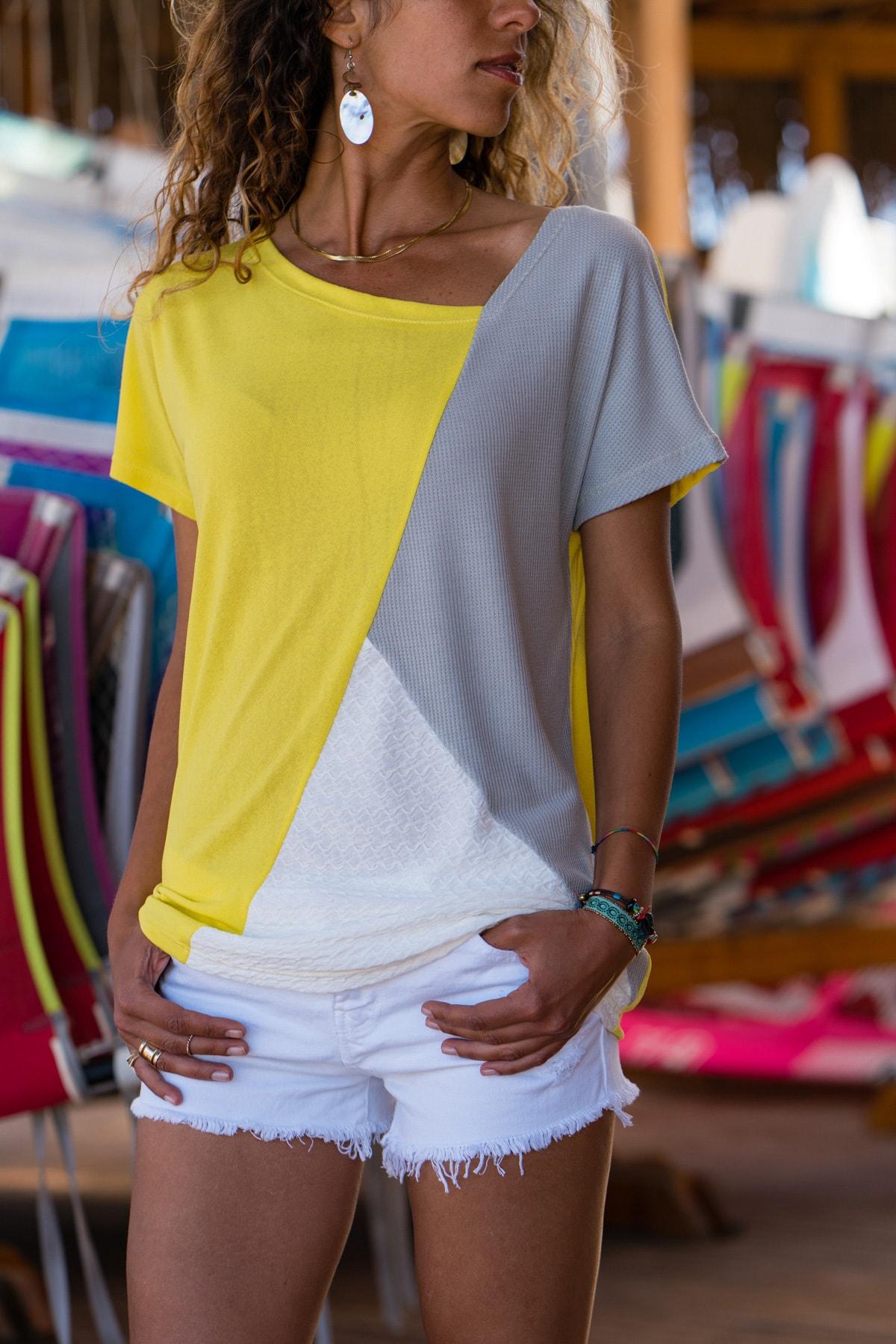 Güneşkızı Kadın Sarı Color Block Salaş T-Shirt GK-JR402 0