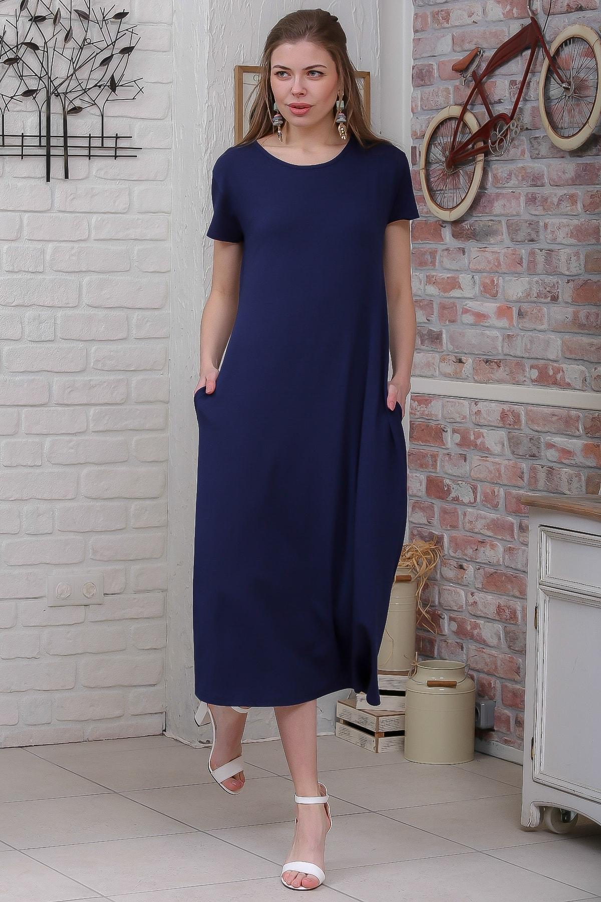Chiccy Kadın Lacivert Sıfır Yaka Kısa Kollu Gizli Cepli Salaş Elbise M10160000EL95531 2