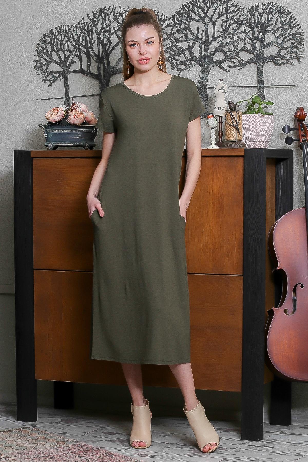 Chiccy Kadın Haki Sıfır Yaka Kısa Kollu Gizli Cepli Salaş Elbise M10160000EL95531 1