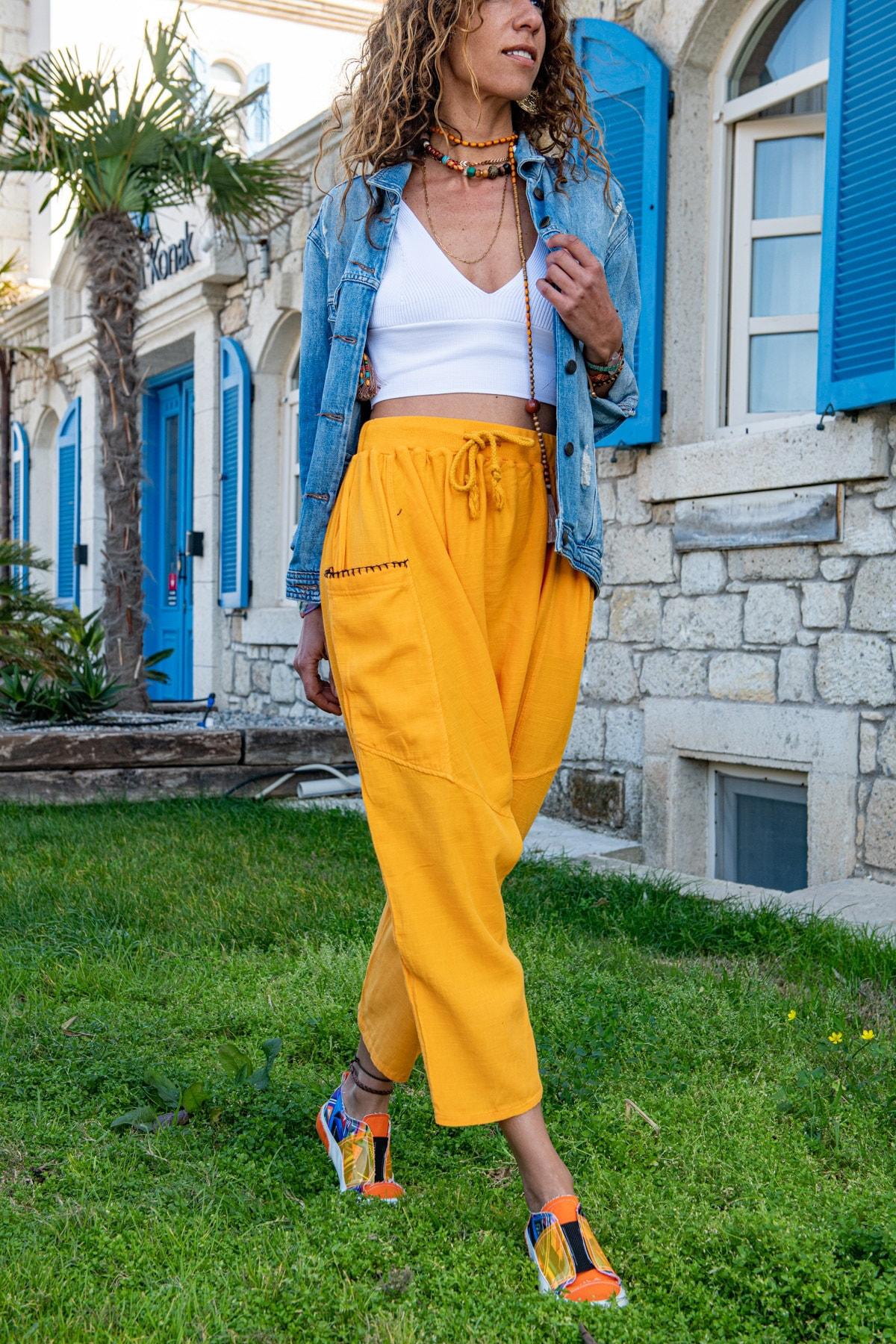 Güneşkızı Kadın Turuncu Yıkamalı Keten Beli Lastikli Salaş Şalvar Pantolon GK-RSD2027 0