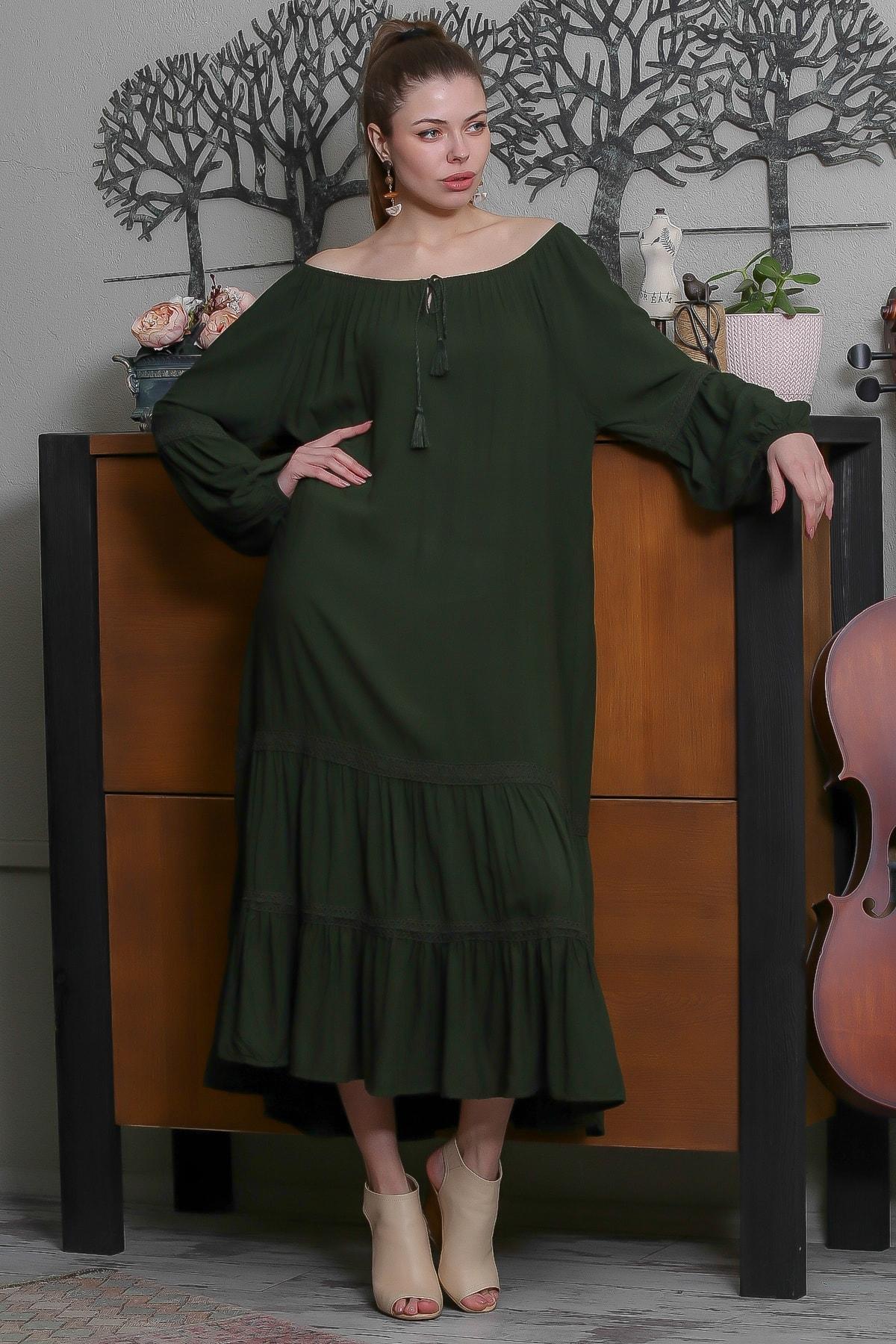 Chiccy Kadın Yeşil Carmen Yaka Püskül Bağcıklı Salaş Elbise M10160000EL95523 1