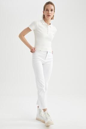 Defacto Kadın Ekru Basic Slim Fit Kısa Kollu Polo Yaka T-Shirt 1