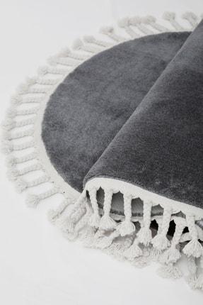 Dijidekor Koyu Gri Oval Post Dokuma Halı Saçaklı Peluş Yumuşacık Kaymaz Antibakteriyel 120x400 0