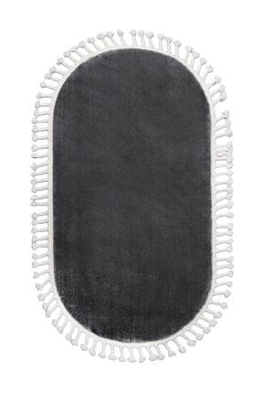 Dijidekor Koyu Gri Oval Post Dokuma Halı Saçaklı Peluş Yumuşacık Kaymaz Antibakteriyel 120x400 3