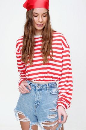 Trend Alaçatı Stili Kadın Kırmızı Beli Lastikli Crop Fit Sweatshirt ALC-X5991 4
