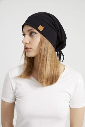 Butikgiz Kadın Siyah, Ip Detaylı Özel Tasarım 4 Mevsim Şapka Bere Buff -ultra Yumuşak Doğal Penye Kumaş 3