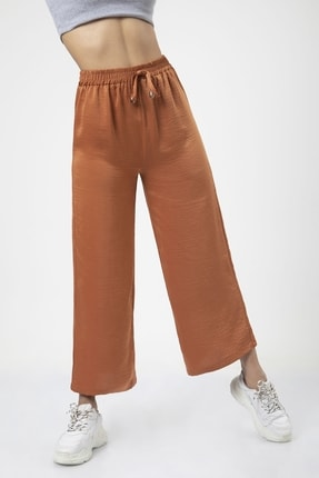 MD trend Kadın Kiremit Bel Lastikli Bağcıklı Bol Paça Salaş Pantolon 0