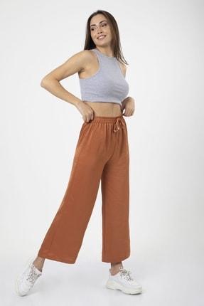 MD trend Kadın Kiremit Bel Lastikli Bağcıklı Bol Paça Salaş Pantolon 1