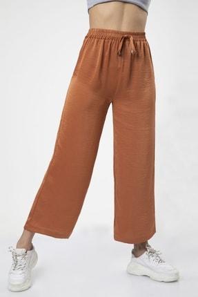 MD trend Kadın Kiremit Bel Lastikli Bağcıklı Bol Paça Salaş Pantolon 2