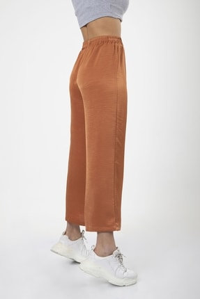 MD trend Kadın Kiremit Bel Lastikli Bağcıklı Bol Paça Salaş Pantolon 4