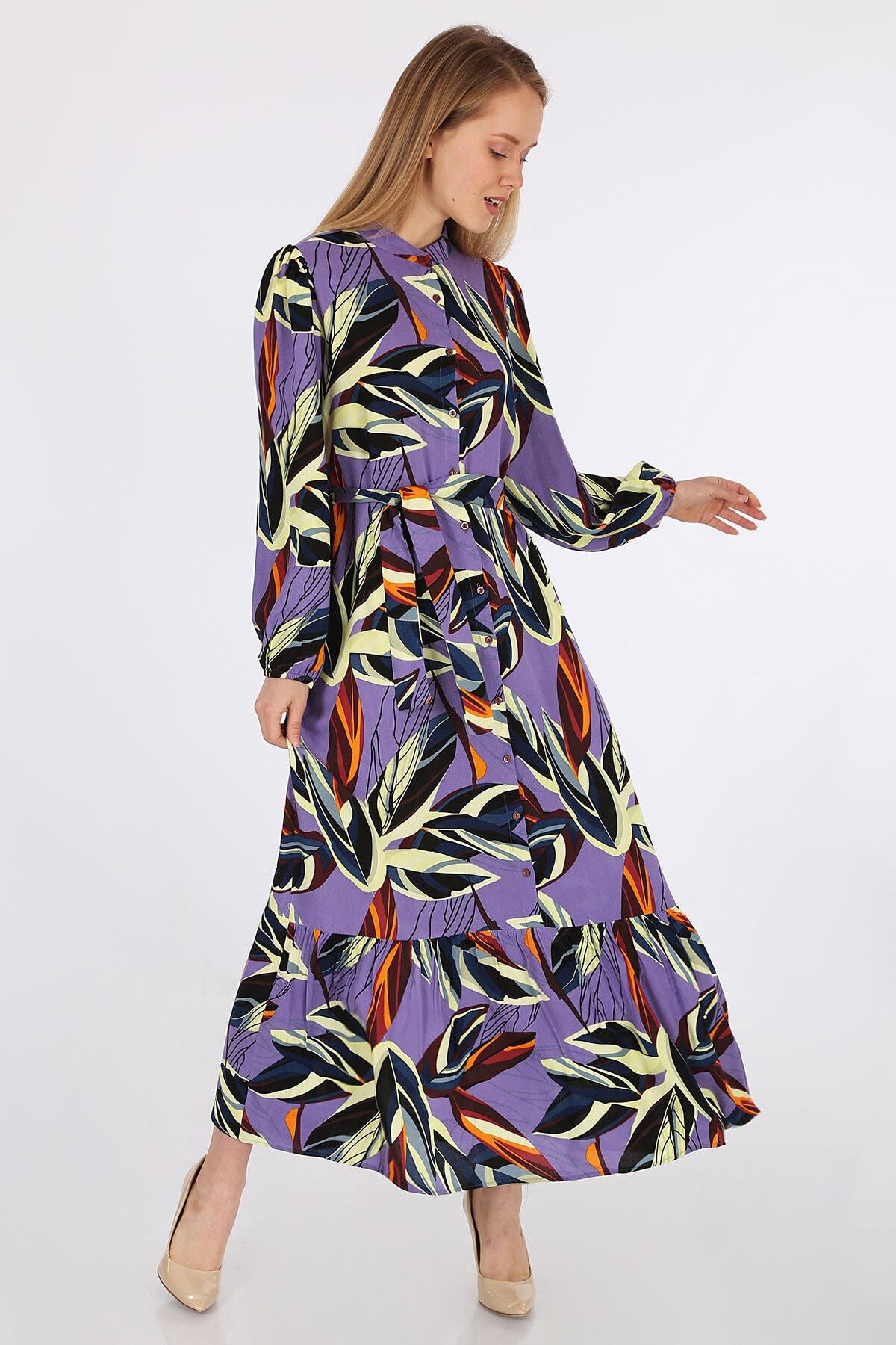 Kadın Lila Egzotik Desen Elbise 2158