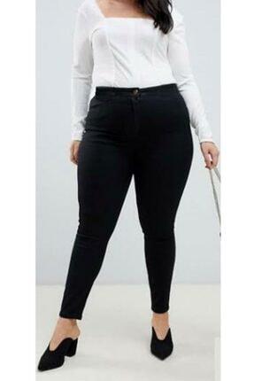 ÇİÇEK BUTİK Kadın Siyah Yüksek Bel Dar Paça Kot Pantolon 0