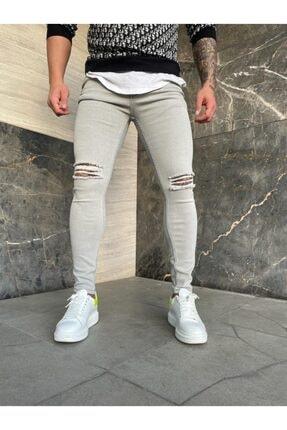 denim pasaport Açık Gri Iki Diz Yırtık Slim Fit Likralı Erkek Jeans 2