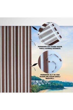 ALTINPAMUK Her Ölçüde Enxboy Seçenekli Bağcıklı Balkon Perdesi Balkon Brandası Kahve Beyaz- 1