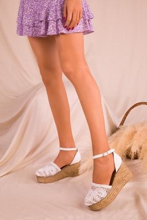Soho Exclusive Beyaz Kadın Dolgu Topuklu Ayakkabı 16041 1