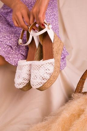 Soho Exclusive Beyaz Kadın Dolgu Topuklu Ayakkabı 16041 2