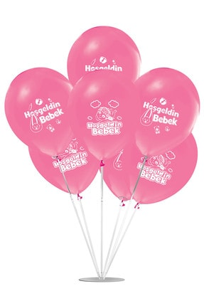 Hoş Geldin Bebek Temalı Pembe Balon Stand Set 7'li PV-BLN-0945