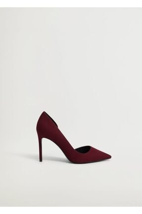 Mango Kadın Bordo Asimetrik Stiletto Ayakkabı 1