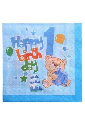 Erkek Peçete 1 Yaş Doğumgünü Peçete Parti Peçete Erkek Happy Birthday Peçete Parti 20 Adet peçete