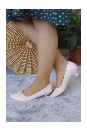PUNTO Kadın Pudra Rugan Fındık Topuklu Ayakkabı 1