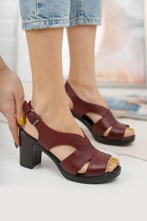 Diego Carlotti Kadın Bordo Hakiki Deri Günlük Klasik Topuklu Sandalet 1