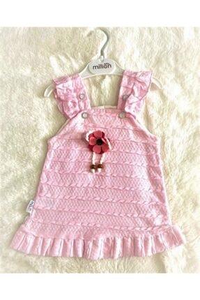 Kız Bebek Pembe Düğmeli Elbise MİLLİON PEMBE KIZ BEBEK ELBİSESİ