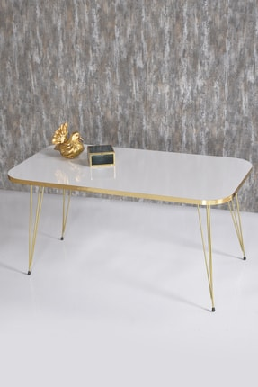 GOLDFALEZ Zigon Sehpa Ve Orta Sehpa Kr Set Gold Beyaz Tel 1