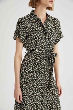 Defacto Kadın Siyah Volanlı Kol Detaylı Kuşaklı Gömlek Elbise 1